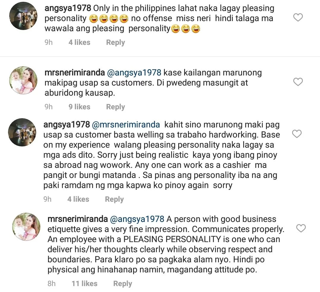 """Neri Naig & Chito Miranda respond to netizen who made fun of """"pleasing personality"""" job requirement for their new restaurant"""
