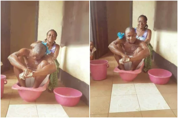 Man breaks the internet after allowing his mother to bathe and feed him (photos)