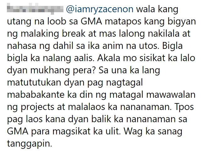 Wala raw utang na loob? Ryza Cenon gets bashed for transferring to Kapamilya network