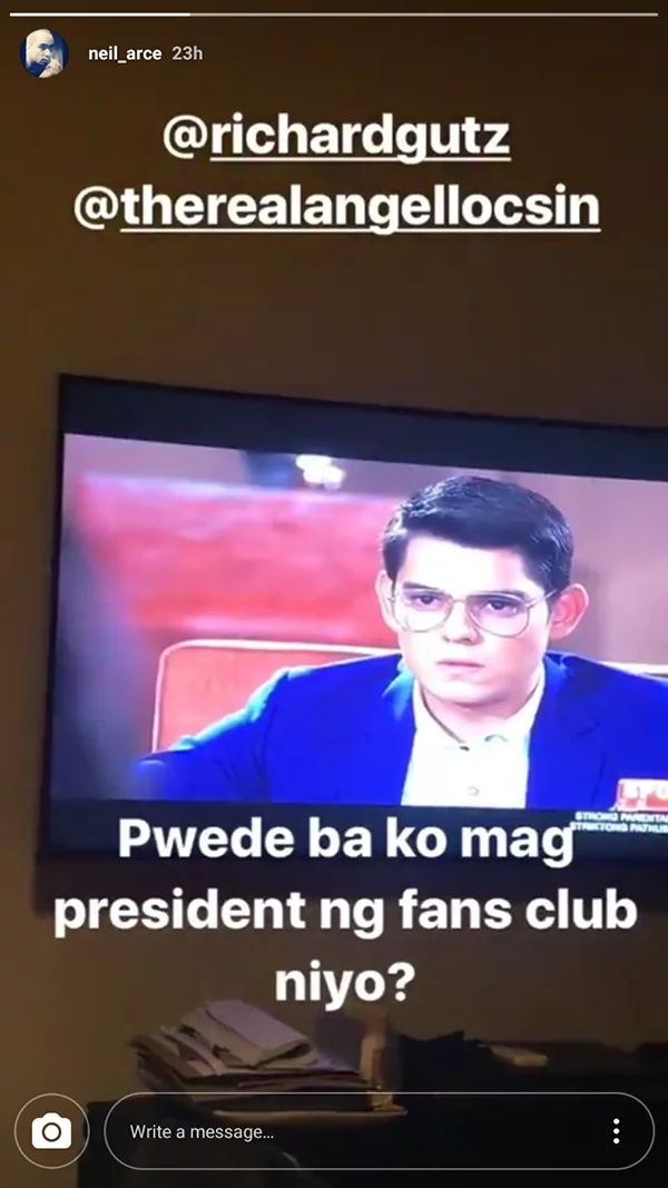 Neil Arce asks to be the president of ChardGel fans club