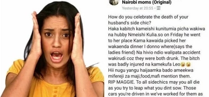 Kenyan woman seeks advice on how to celebrate the death of hubby's mpango wa kando