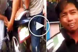 Emotional Pinoy rider cries hard while accusing cops of planting shabu in his motorcycle trunk