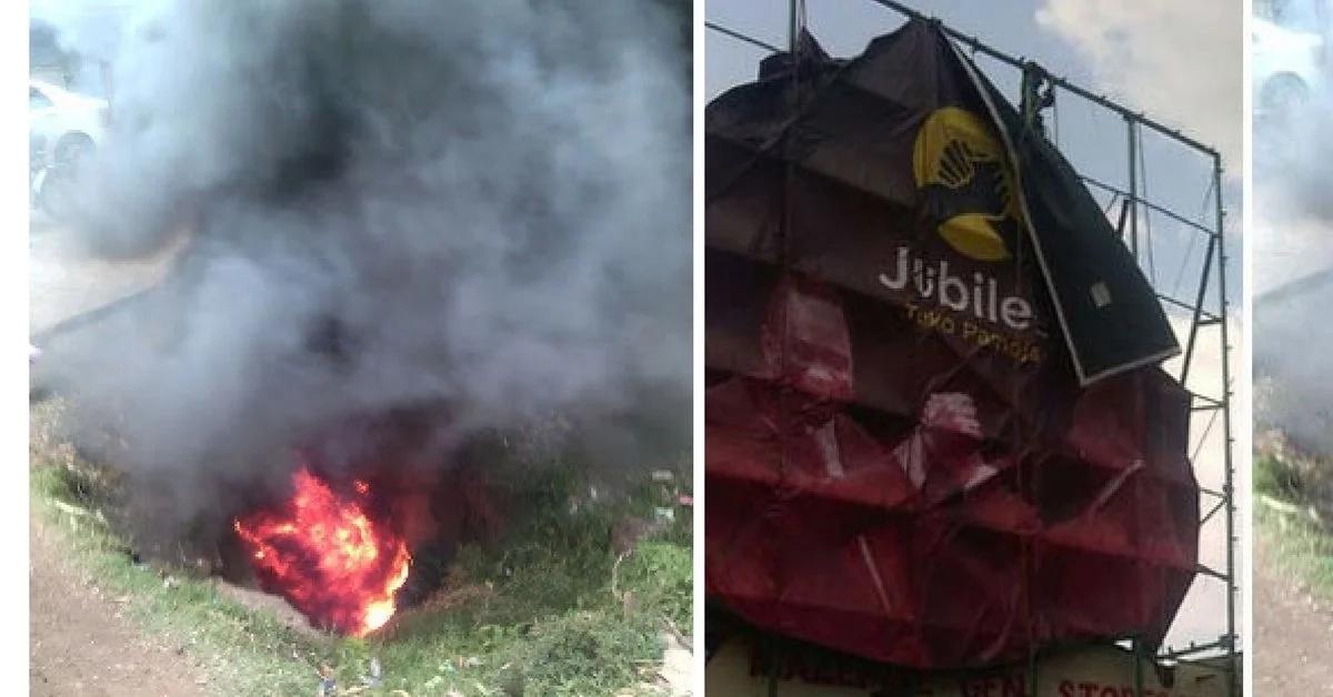 Angry Homa Bay youth destroy Uhuruto billboards