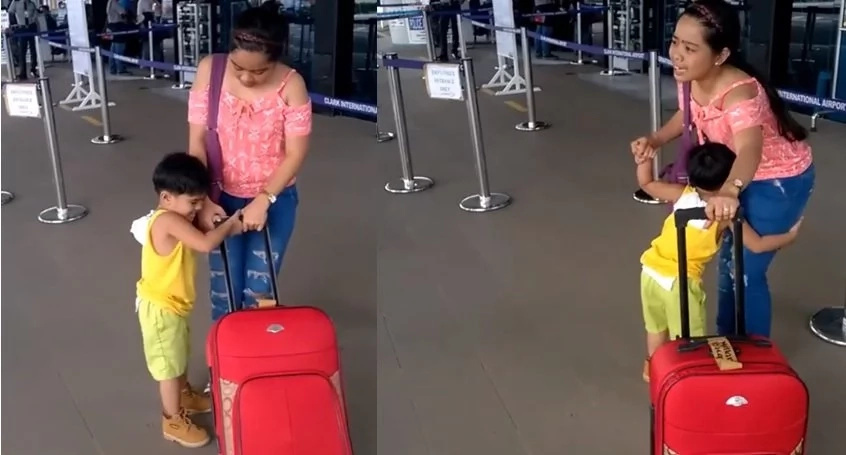 Hearbreaking video of a little boy trying to stop her OFW mom from leaving. Captured at the airport!