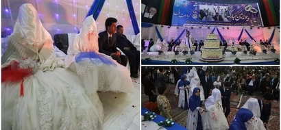 Pilgrimage of the heart! 34 couples get married in colourful mass wedding (see photos)