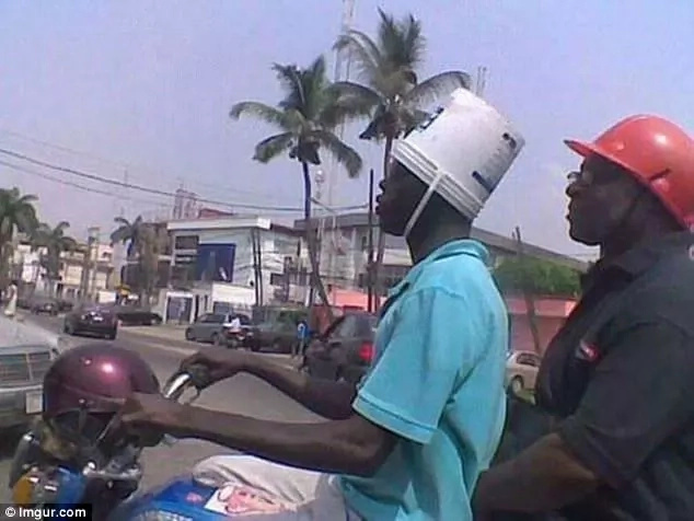 Now, how does that container replace a proper helmet? Photo: Imgur.com