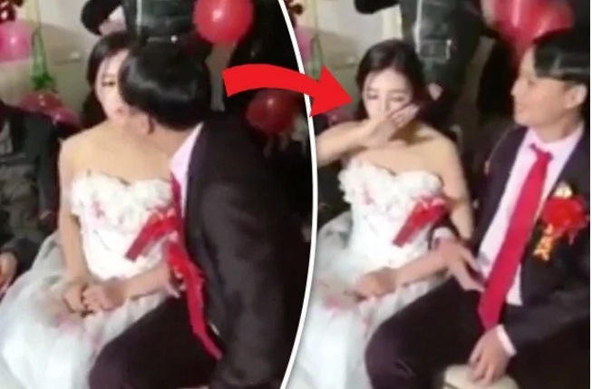 Novio trató de besar a la novia durante su boda, pero ella reaccionó de la manera más impredecible