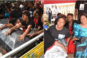 Agonising scenes in Uganda as Zari and her sons arrive with body of her ex-husband (photos)