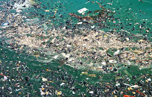 An aerial view of garbage floating in the waters of the Pacific Ocean. (The Matador Messenger, Pucker Mob)
