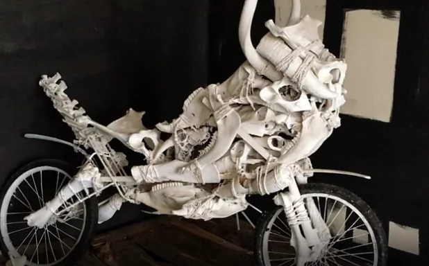 One of Yared's sculptures made from animal bones. Photo: BBC Africa
