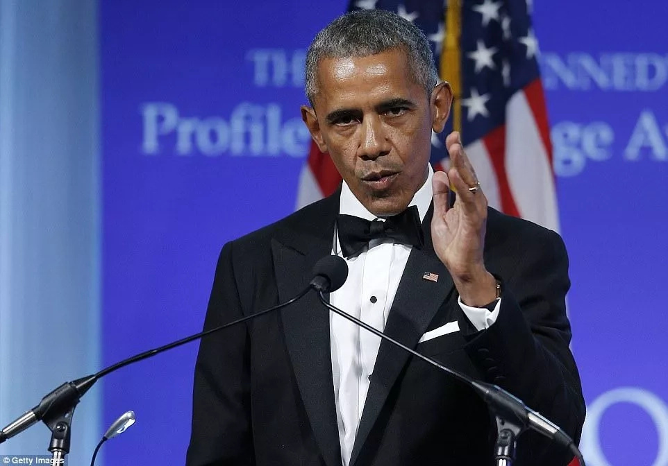 Barack Obama making his remarks at while receiving the prestigious JFK Profile in Courage Award