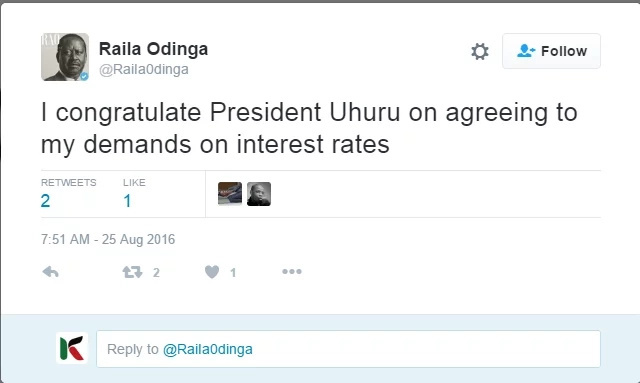 Uhuru signed Interest Rates Bill after Raila Odinga demands