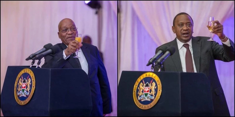 Uhuru chooses alcohol and not juice as Zuma