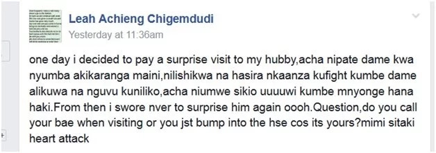 Drama! Kenyan lady visits her husband and finds another woman frying matumbo and chaos follows