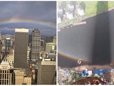 Crane operator's captured photos from above reveal what a rainbow looks like up close!