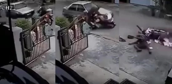 Delivery man violently hit by a car in a subdivision