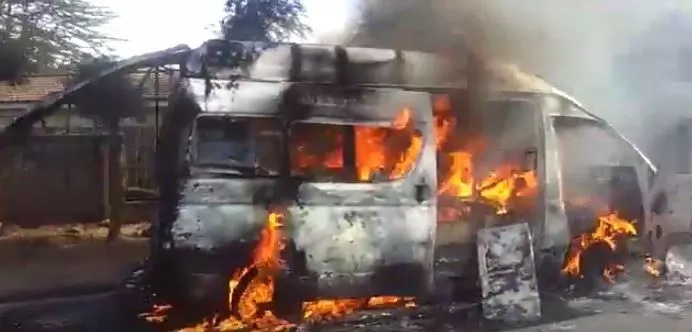 Ambulance catches fire on Lang'ata road