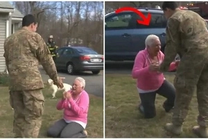 Mother believed that her son soldier was dead, but when she saw him she couldn't believe her eyes