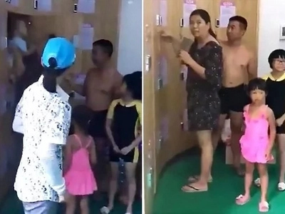 Fury as couple leave their crying toddler in a changing room locker so they could go swimming