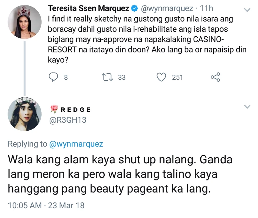 Shut up nalang daw sya! Wyn Marquez engages basher who underestimates her