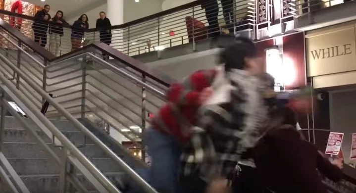 Anti-Trump Protestor Is Shoved Down Stairs By Autistic Patriot