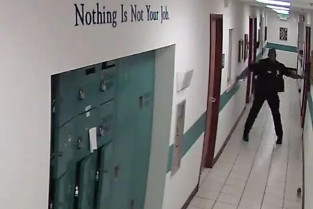 CCTV captures the moment a burly police officer runs away from a LITTLE mouse (photos, video)