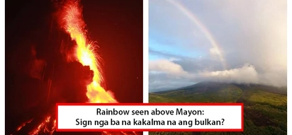 Tapos na ba ang pagsabog? Rainbow spotted over Mayon in breathtaking photo