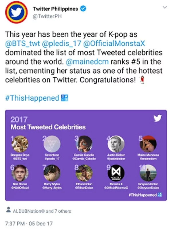 Maine Mendoza is acclaimed by Twitter as one of the most tweeted celebrities worldwide
