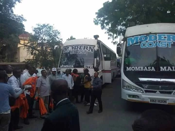 NASA supporters arrive to a police-free Uhuru Park