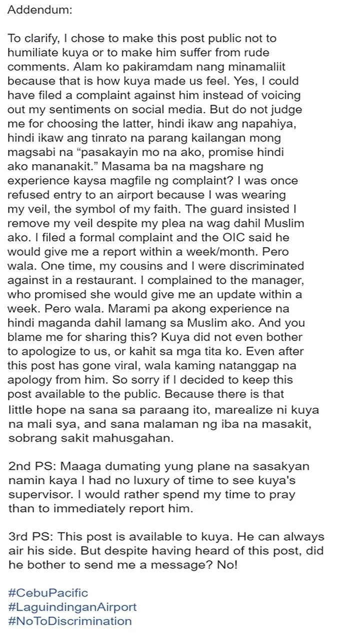 Muslim Woman Rants Online About the Alleged Discrimination From a Rude Employee of Cebu Pacific at the Airport! Read Her Story Here!