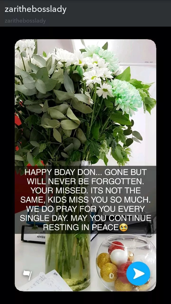 Popular singer Diamond's wife mourns her late ex husband in a tear inducing message