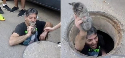 Heroic man jumps in storm drain to save poor kitten