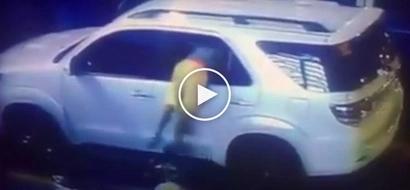 Mag-ingat sa kawatan! Dangerous Pinoy thief caught on CCTV stealing valuables from SUV at Taft Avenue
