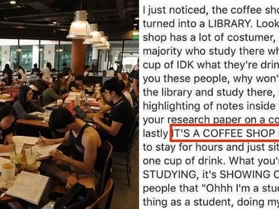 This netizen has the most epic comeback towards another netizen who criticized coffee shops have turned into libraries