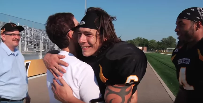 Jack Long and Shane Simpson helped rescue Teresa Gall's son. Photo: YouTube/Griffon Sports Insider