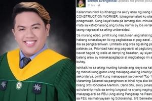 'Kailanman hindi ko itinanggi na ako'y anak ng isang kasambahay at construction worker...'