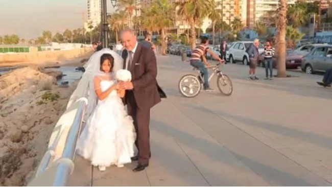 She's 12. He's 60. And they just got married. See how everybody reacts