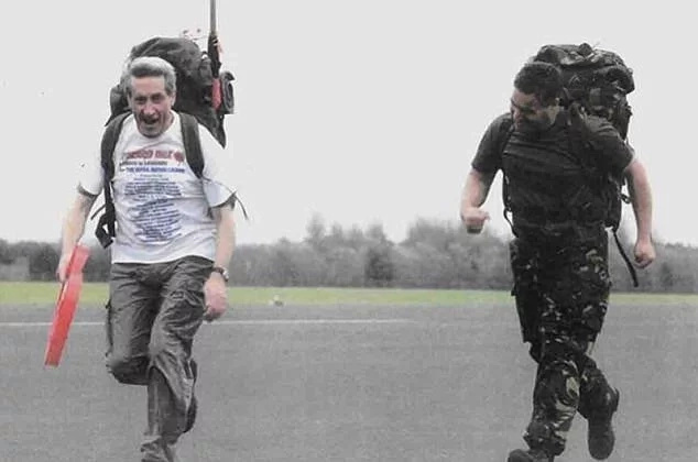 Long walked 86 miles - one mile for each year of his life - to raise funds for military veterans. Photo: Daily Mail