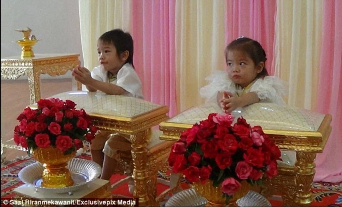 3-year-old twins are married in Thailand because parents say they are