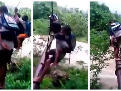 LOOK: Father and Son Cross Water Pipe Just to Go to the School