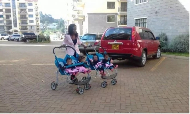 Mother to quadruplets shares breathtaking photo of her kids scrambling for breast milk and Kenyans can't believe it
