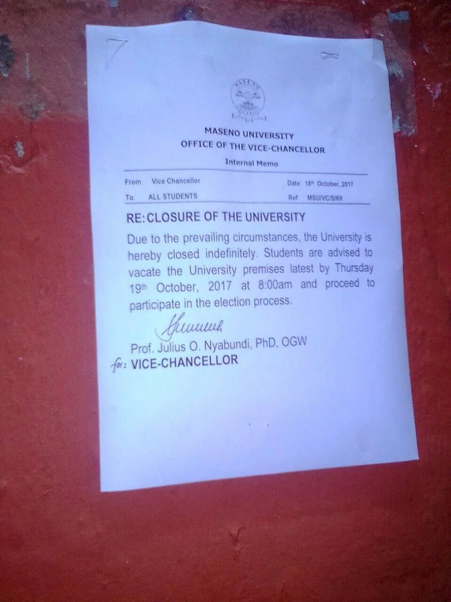 Maseno University closed indefinitely
