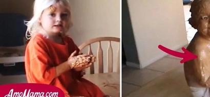 Una mamá sintió un extraño olor proveniente de la cocina, luego encontró a su hijo sucio con algo marrón
