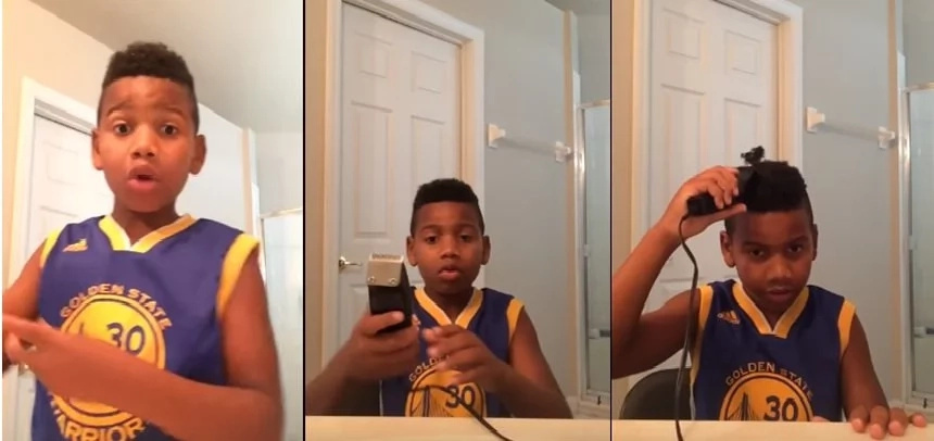 "Haircut tutorial gone wrong: ""I'm going to be the funniest kid on the planet."""
