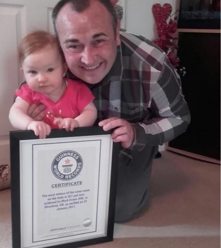 Sweetest Guinness World Record! Man tattoos his daughter's name all THESE times on his back (photos, video)
