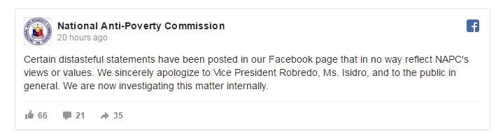 NAPC issues apology to Agot and VP after posting distasteful remark on FB
