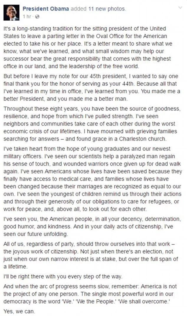 Farewell letter from Obama to people expresident thanks nation