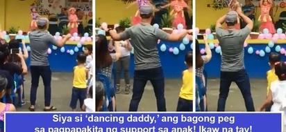 Basta para sa anak, kahit hiya nawawala! Supportive daddy goes viral as he makes super 'kembot' to encourage child to dance during school presentation