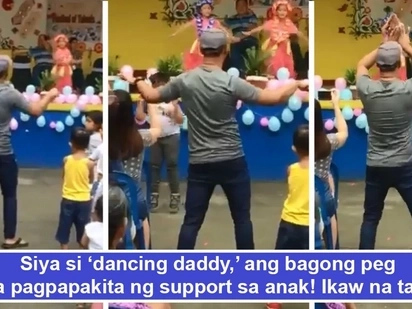 Basta para sa anak, kahit hiya nawawala! Supportive daddy goes viral as he makes super 'kembot' to encourage child to dance during school presentation