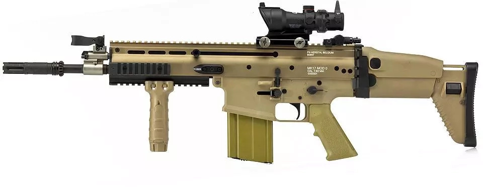 The FN SCAR rifle that is only used by Kenyan forces in ... M16 Acog